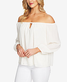 CeCe Off-The-Shoulder Keyhole Top