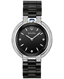 Women's Diamond (1/3 ct. t.w.) Rubaiyat Stainless Steel & Black Ceramic Bracelet Watch 35mm