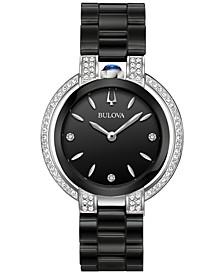 Women's Diamond (1/3 ct. t.w.) Rubaiyat Stainless Steel & Black Ceramic Bracelet Watch 35mm