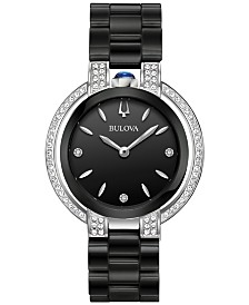 Bulova Women's Diamond (1/3 ct. t.w.) Rubaiyat Stainless Steel & Black Ceramic Bracelet Watch 35mm