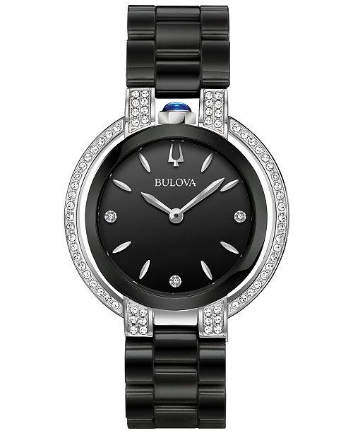... Bulova Women s Diamond (1 3 ct. t.w.) Rubaiyat Stainless Steel   Black  ... 65086c4cc5