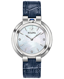 Bulova Women's Rubaiyat Diamond-Accent Blue Leather Strap Watch 35mm