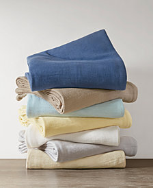 Madison Park Freshspun Cotton Basketweave Blankets