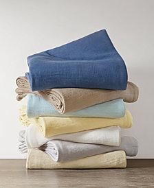 Madison Park Freshspun Cotton Basketweave Blankets