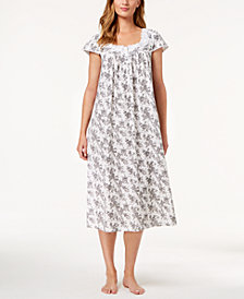 Charter Club Cotton Floral-Border Nightgown, Created for Macy's