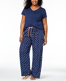 HUE® Plus Size Solid Pajama Top & Dotted Pajama Pants Sleep Separates