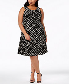 Anne Klein Plus Size Printed Swing Dress