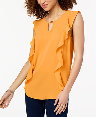 Juniors' Side Ruffle Blouse by Bcx