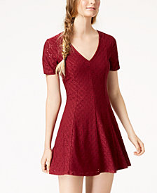 Trixxi Juniors' Ruched-Sleeve Eyelet Dress