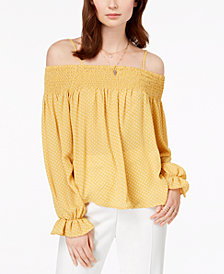Ultra Flirt by Ikeddi Juniors' Smocked Cold-Shoulder Top