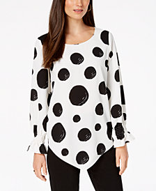 Alfani Petite Printed Smocked-Sleeve V-Hem Top, Created for Macy's