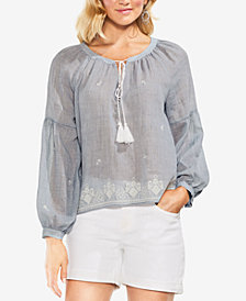 Vince Camuto Embroidered Tassel Top
