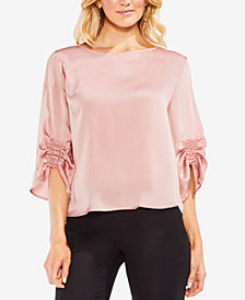 Vince Camuto Smocked 3/4-Sleeve Satin Top