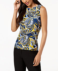 Anne Klein Printed Side-Twist Top