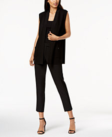 Anne Klein Cardigan Vest & Slim-Fit Pants