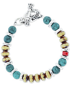 King Baby Men's Ceramic and Glass Bead Bracelet in Sterling Silver