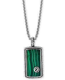 "EFFY® Men's Malachite Dog Tag 22"" Pendant Necklace in Sterling Silver"