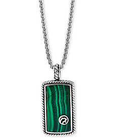 "EFFY® Men's Malachite Dog Tag 22"" Pendant Necklace in Sterling Silver"