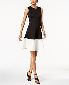 Calvin Klein Colorblocked Fit & Flare Dress