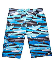 Laguna Little Boys Shark-Print Swim Trunks