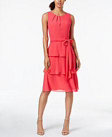 Jessica Howard Ruffle Tiered Fit & Flare Dress