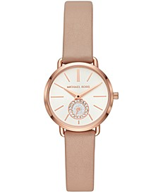 Women's Petite Portia Brown Leather Strap Watch 28mm