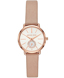 Michael Kors Women's Petite Portia Brown Leather Strap Watch 28mm