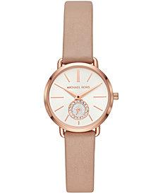 Michael Kors Women's Petite Portia Brown Leather Strap Watch 28mm