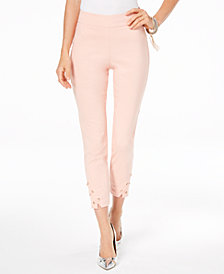 Thalia Sodi Lattice-Hem Capri Pants, Created for Macy's