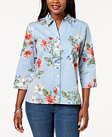 Alfred Dunner Petite Floral-Print Blouse, Created for Macy's