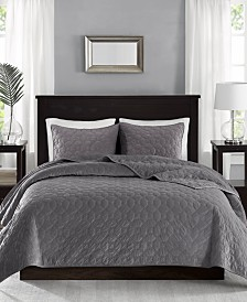 Madison Park Harper Faux Velvet 3-Pc. Quilted King/California King Coverlet Set