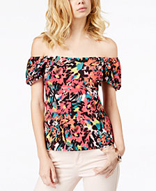 GUESS Fernanda Off-The-Shoulder Puffed-Sleeve Top