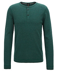 BOSS Men's Slim-Fit Henley Long-Sleeve Cotton T-Shirt