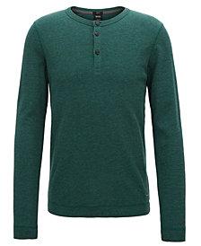 BOSS Men's Slim-Fit Henley Long-Sleeve Cotton T-Shirt