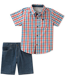 Calvin Klein Toddler Boys Plaid-Print Cotton Shirt & Shorts Set