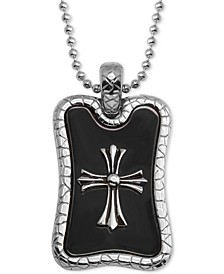 """Men's Cross Dog Tag 24"""" Pendant Necklace in Stainless Steel & Black Ion-Plate"""