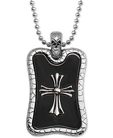 "Men's Cross Dog Tag 24"" Pendant Necklace in Stainless Steel & Black Ion-Plate"