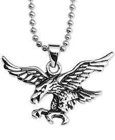 "Flying Eagle 24"" Pendant Necklace in Stainless Steel"