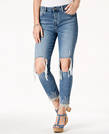 GUESS Iced Indigo It Girl Ripped Embroidered Jeans