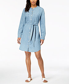 Eileen Fisher Organic Cotton Mandarin-Collar Shirtdress