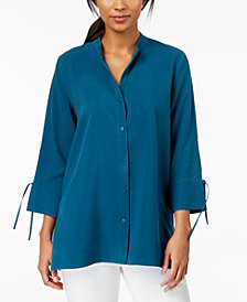 Eileen Fisher Button-Front Silk Shirt