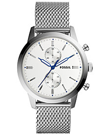 Fossil Men's Chronograph Townsman Stainless Steel Mesh Bracelet Watch 44mm