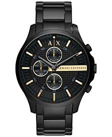 Men's Chronograph Hampton Black Stainless Steel Bracelet Watch 46mm