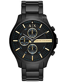 A|X Armani Exchange Men's Chronograph Hampton Black Stainless Steel Bracelet Watch 46mm