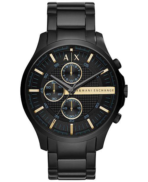 f85ba6816 Armani Exchange A X Men's Chronograph Hampton Black Stainless Steel  Bracelet Watch ...