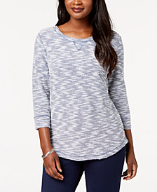 Karen Scott Textured Sweatshirt Top, Created for Macy's