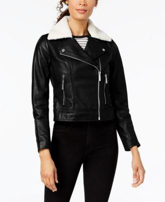 Plus Size Faux-Fur-Collar Leather Moto Jacket
