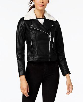 Michael Kors Petite Faux-Shearling-Trim Leather Moto Jacket