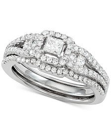 Princess Cut Diamond Ring & Enhancer Set (1 ct. t.w.) in 14k White Gold