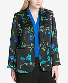 Calvin Klein Plus Size Floral-Print One-Button Jacket
